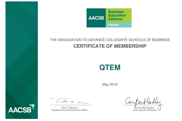 QTEM is now a member of AACSB